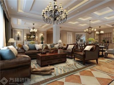 天力水榭春城366㎡美式风格装修效果图